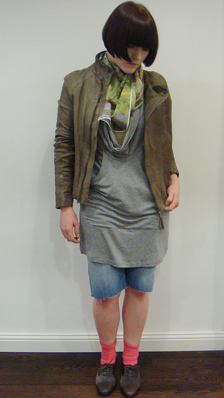 MK A leather jacket, MM6 Collar dress, Acne Her Cut, SD Spring scarf