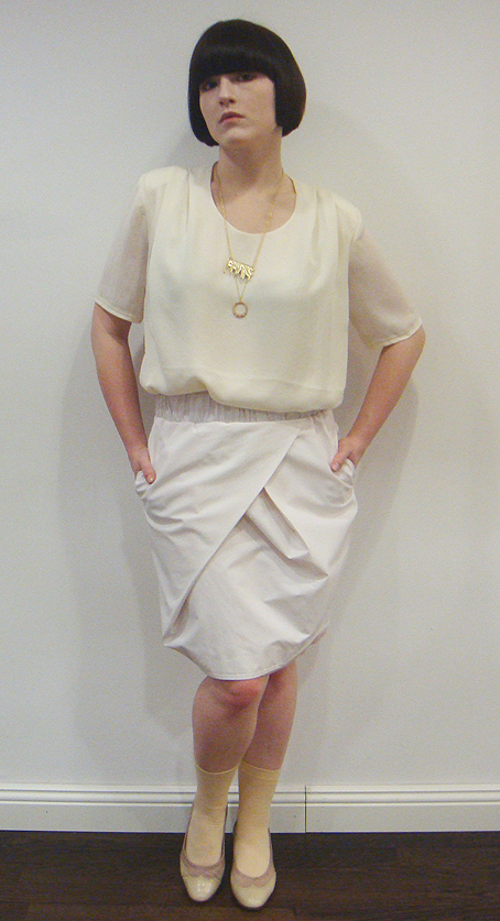 Acne Jun vanilla shirt, Acne Mies mauve skirt